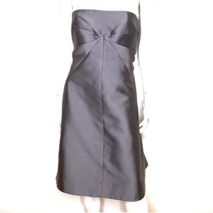 J Crew | NWT gray silk strapless bustle dress